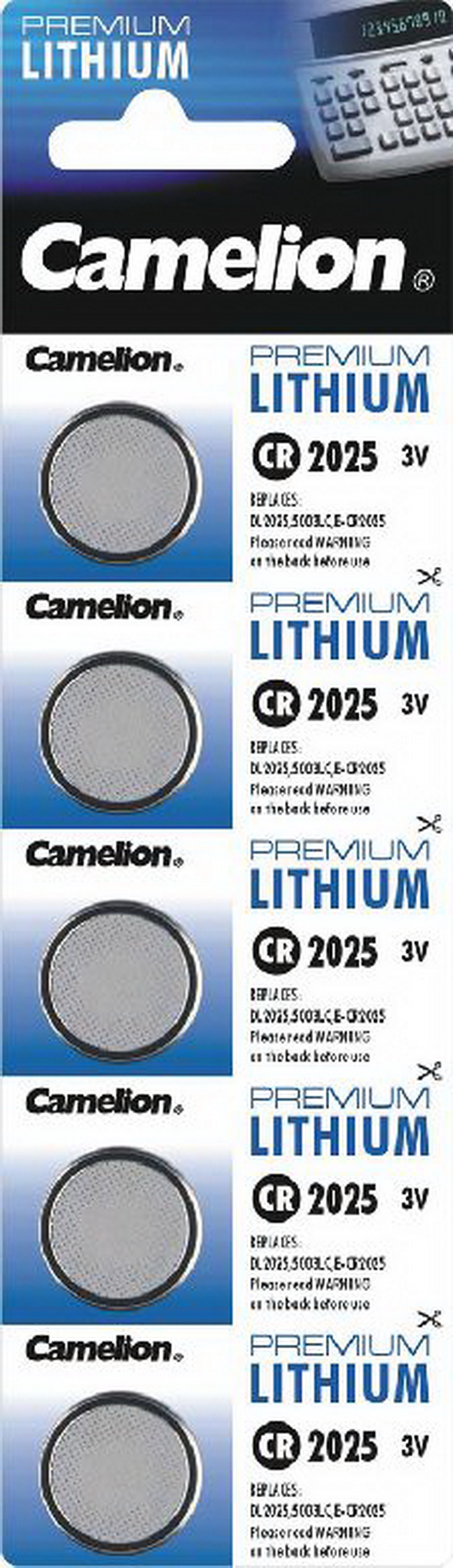 Lithium Knopfzelle<br> CAMELION CR2025,<br>3V, 20x2,5mm,